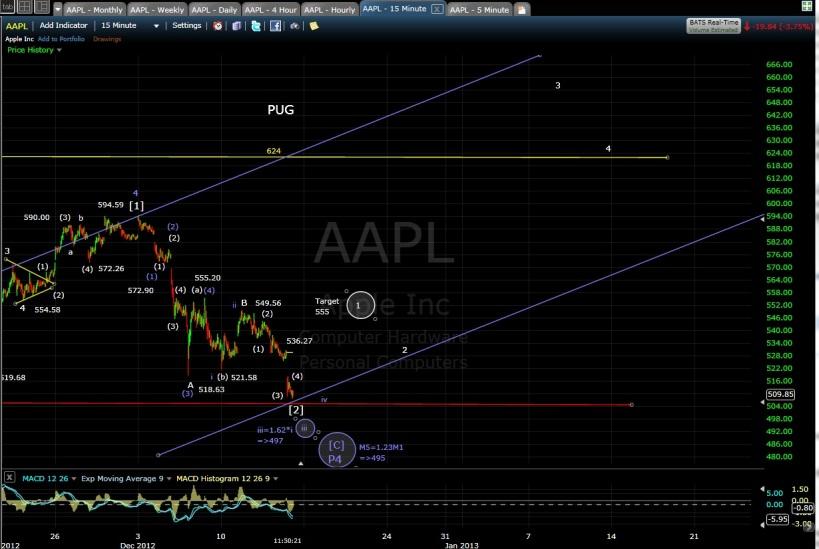 PUG AAPL 15-min chart EOD 12-14-12