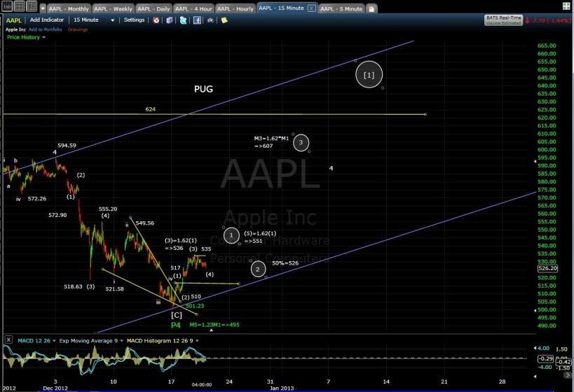 PUG AAPL 15-min chart EOD 12-19-12