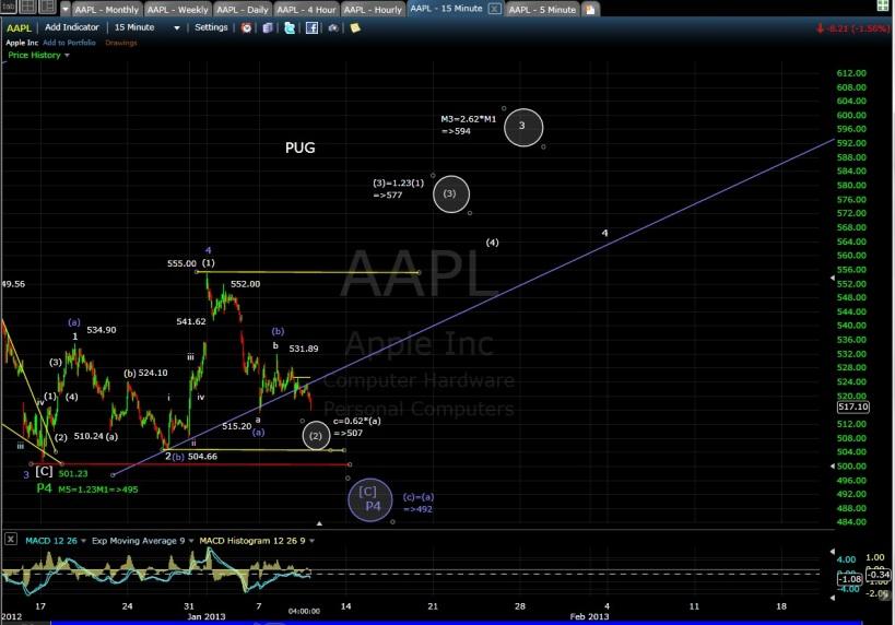 PUG SP-AAPL 15-min EOD 1-9-13