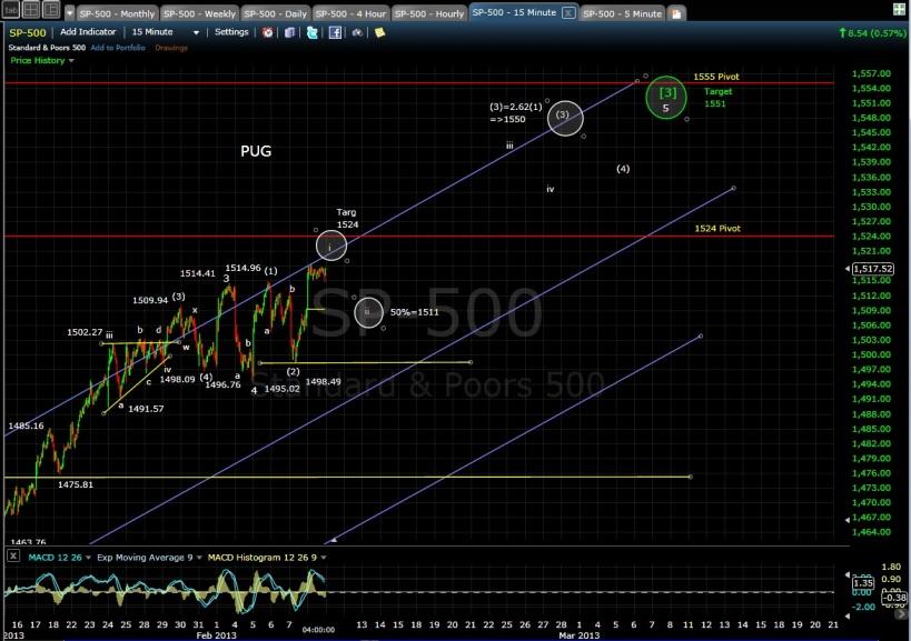 PUG SP-500 15-min chart EOD 2-8-13