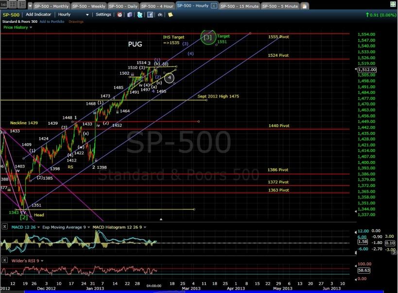PUG SP-500 60-min chart EOD 2-6-13