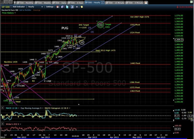 PUG SP-500 60-min chart EOD 2-7-13