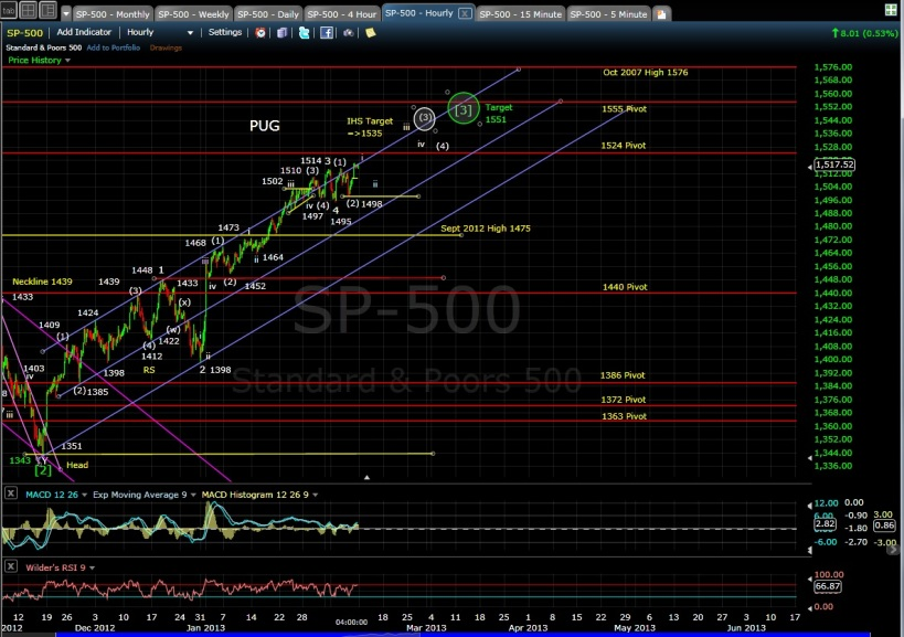 PUG SP-500 60-min chart EOD 2-8-13