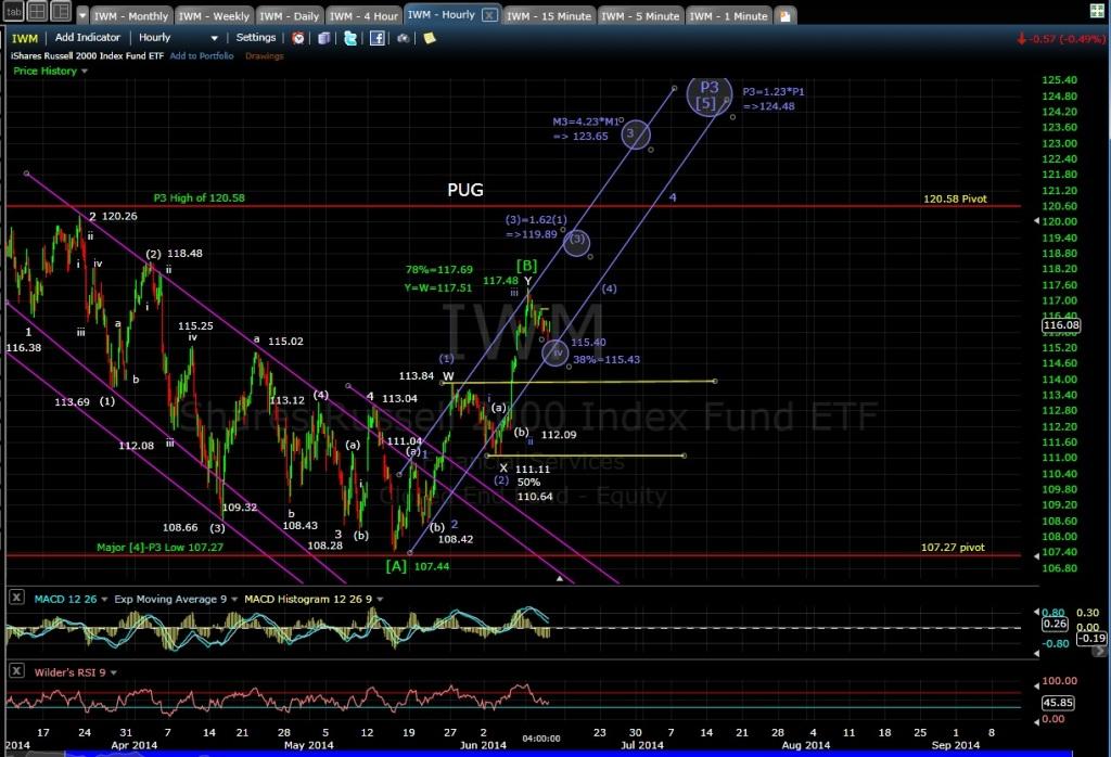 PUG IWM 60-min chart EOD 6-11-14