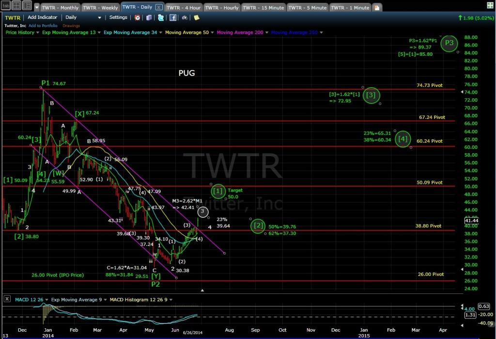 PUG TWTR daily chart EOD 6-26-14