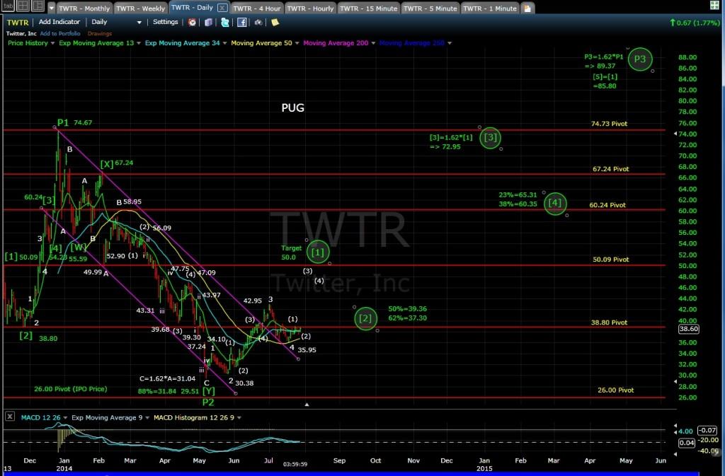 PUG TWTR daily chart EOD 7-29-14