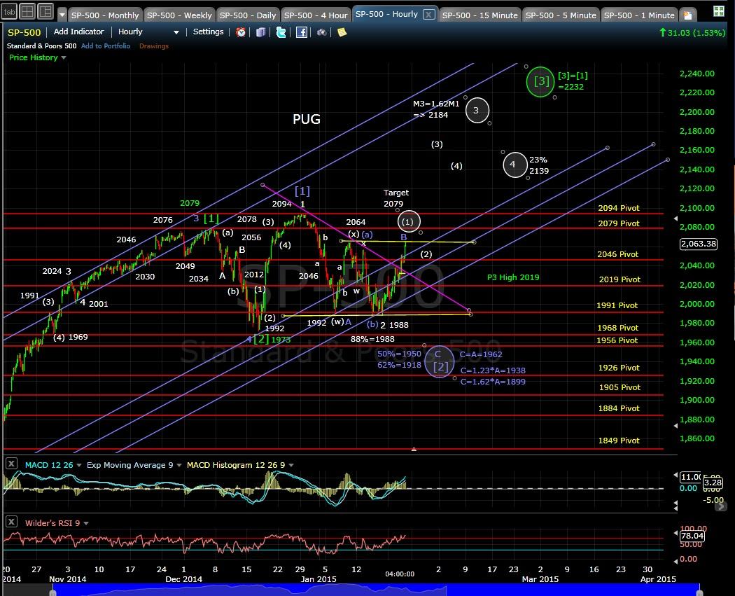 PUG SP-500 60min chart EOD 1-22-15