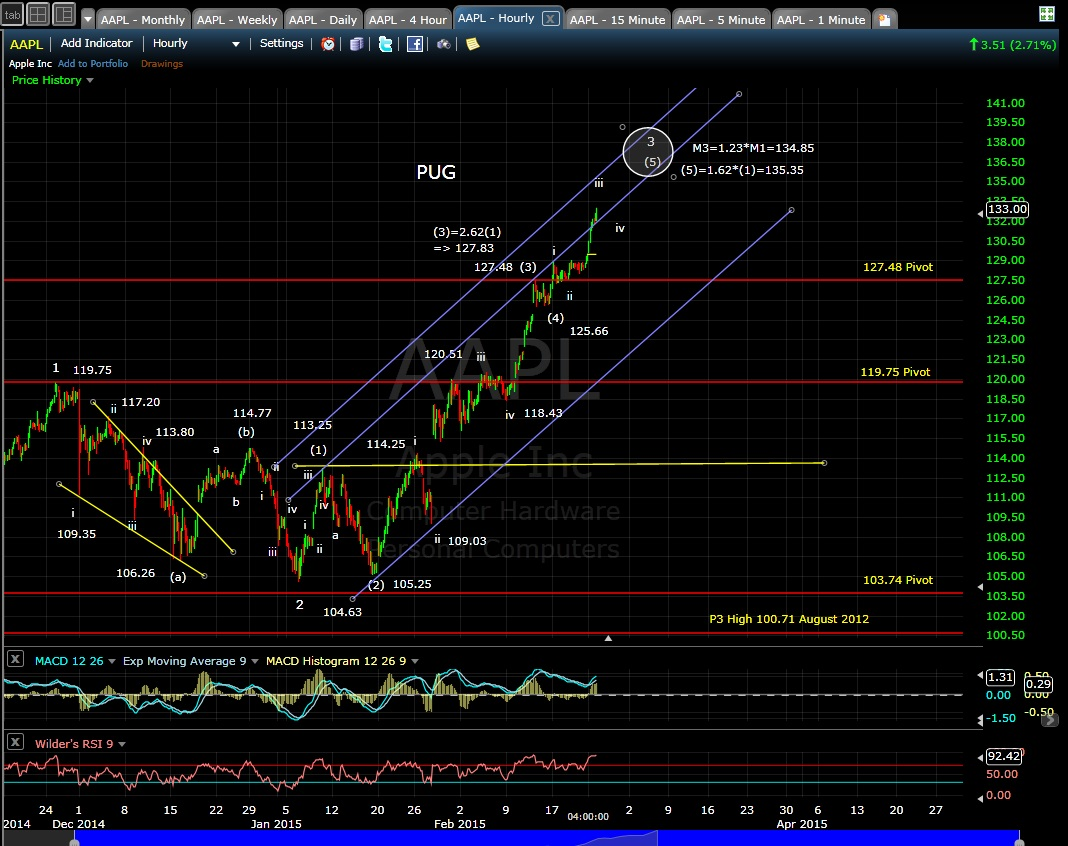 PUG AAPL 60-min chart EOD 2-23-15