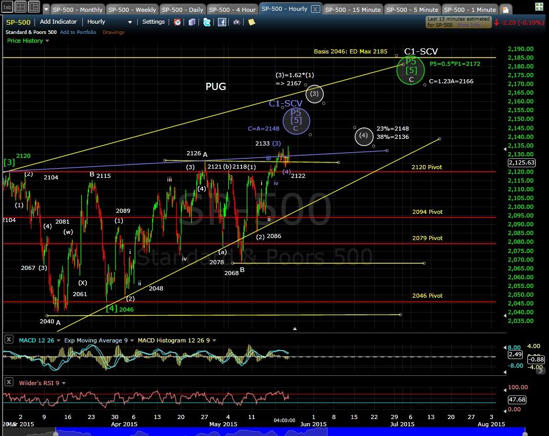 PUG SP-500 60-min chart EOD 5-20-15