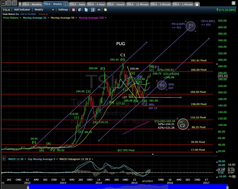 PUG TSLA Weekly Chart EOD 6-11-15