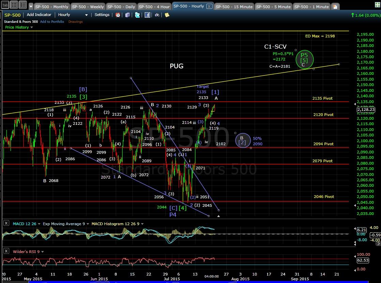 PUG SP-500 60-min chart EOD 7-20-15