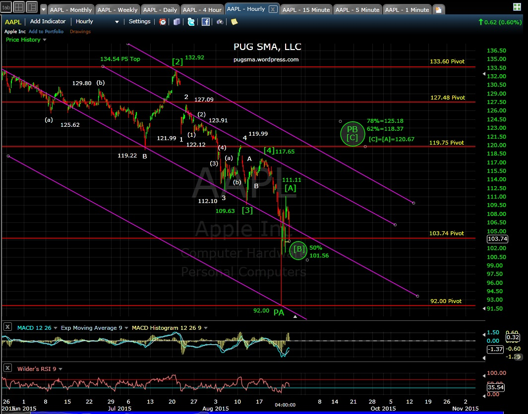 PUG AAPL 60-min chart EOD 8-25-15