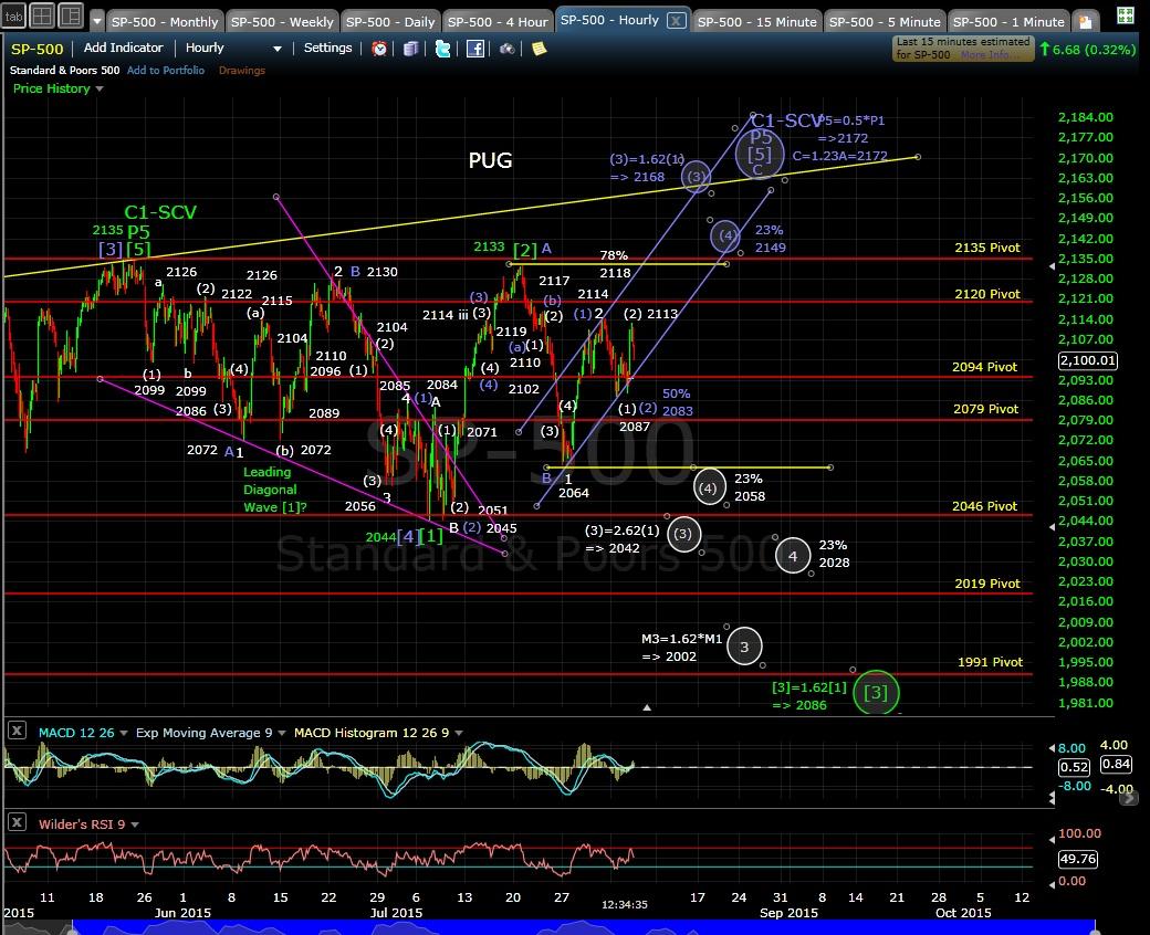 PUG SP-500 60-min chart MD 8-5-15